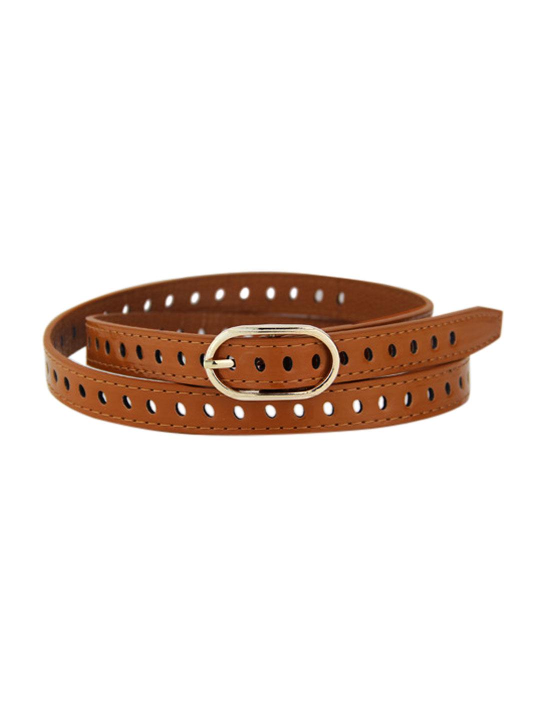 Women Adjustable Single Buckle Hollow Out PU Waist Belt Brown