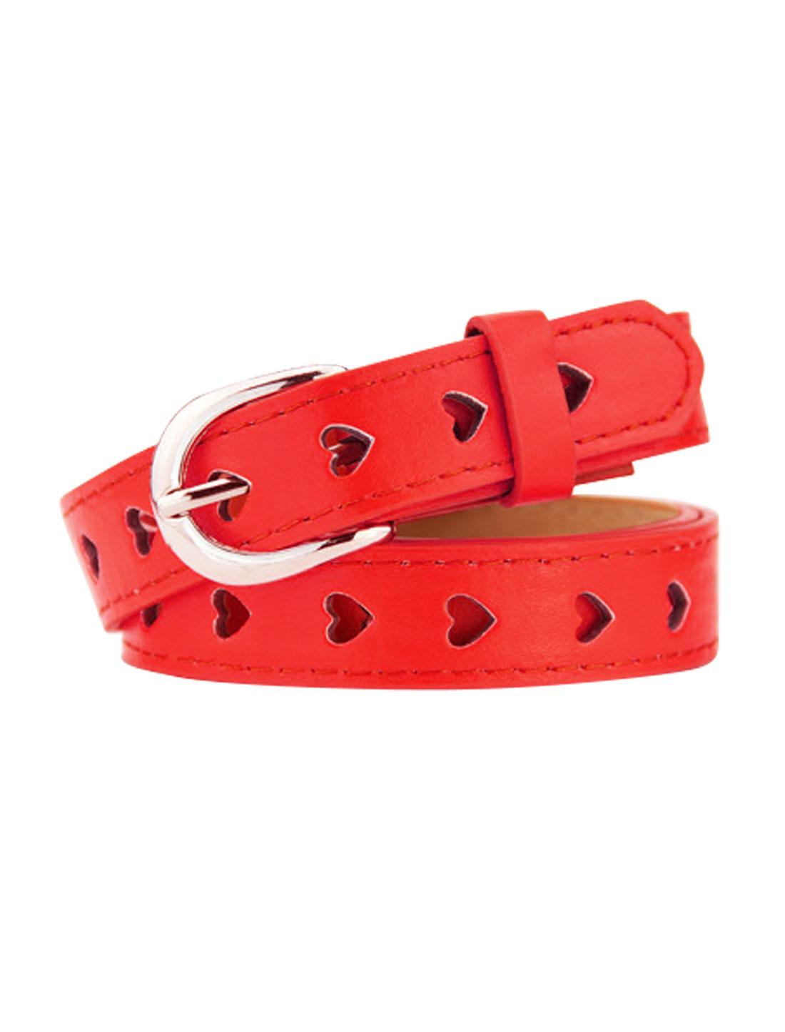 Women Single Prong Buckle Hollow Heart PU Waist Belt Red
