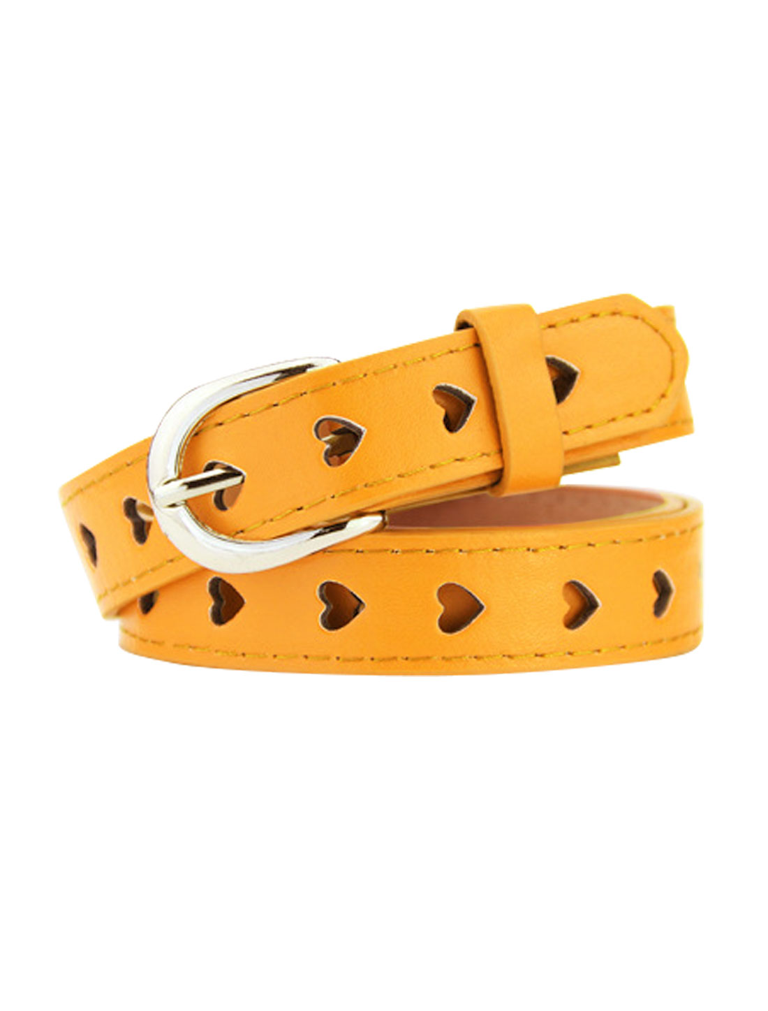 Women Single Prong Buckle Hollow Heart PU Waist Belt Yellow