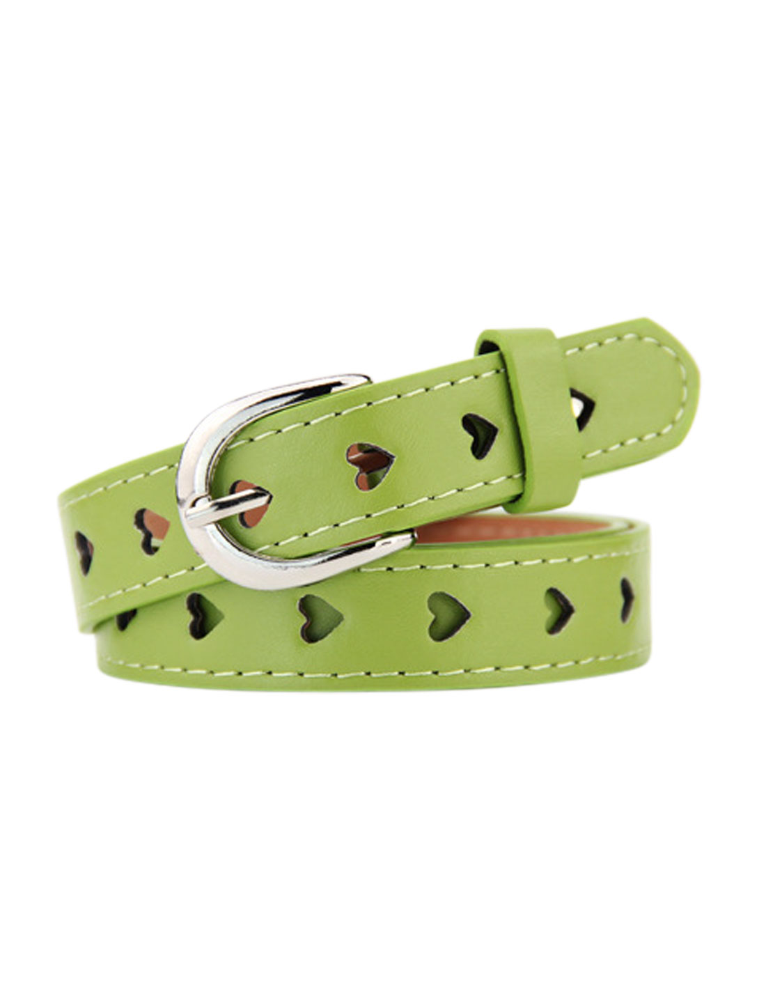 Women Single Prong Buckle Hollow Heart PU Waist Belt Green