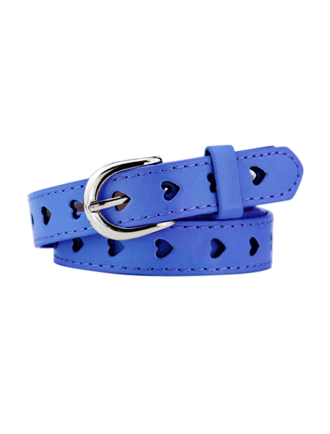 Women Single Prong Buckle Hollow Heart PU Waist Belt Blue