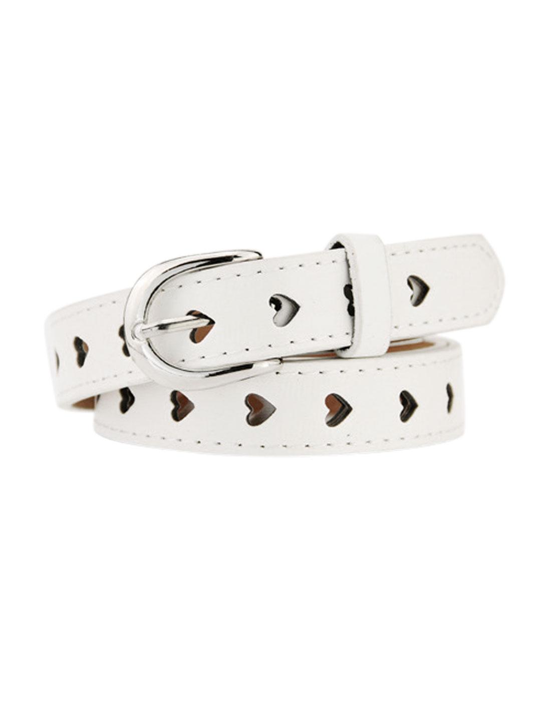 Women Single Prong Buckle Hollow Heart PU Waist Belt White