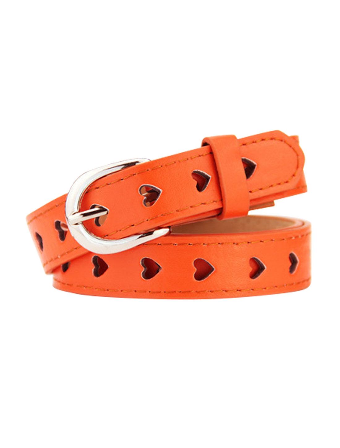 Women Single Prong Buckle Hollow Heart PU Waist Belt Orange