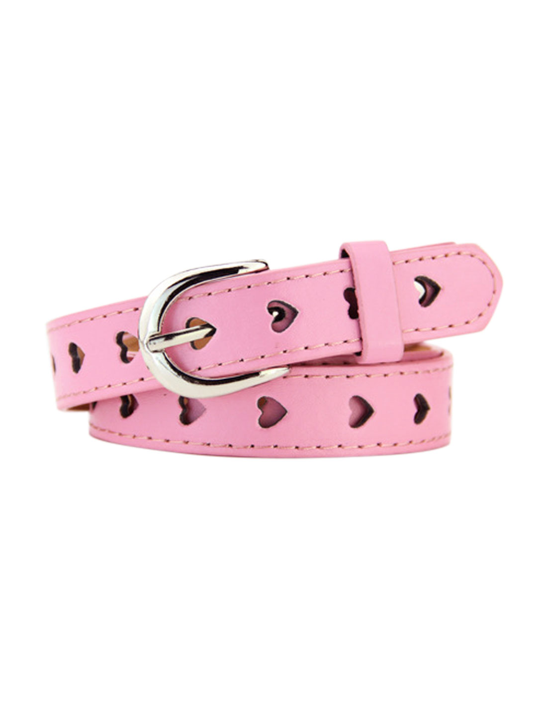 Women Single Prong Buckle Hollow Heart PU Waist Belt Pink