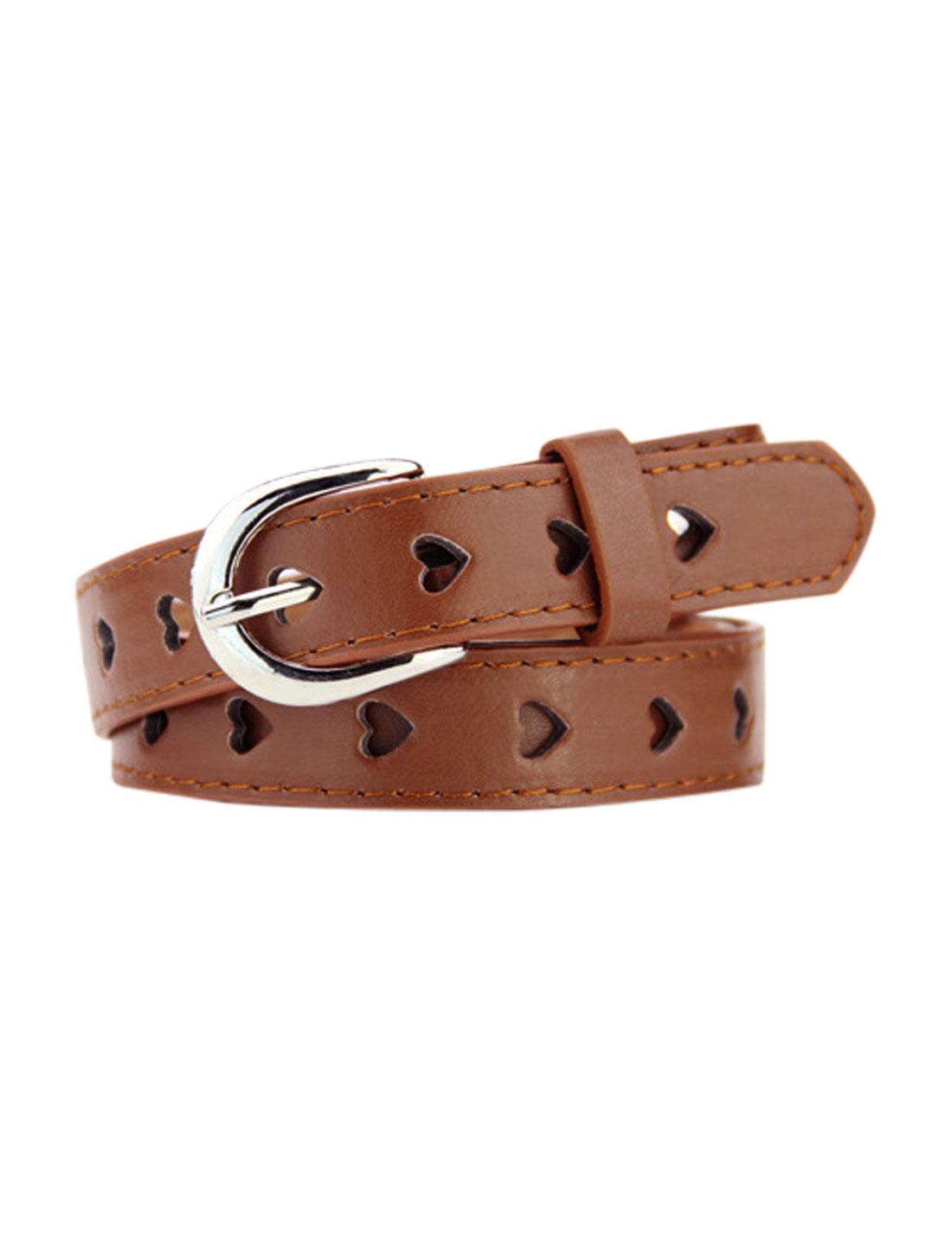 Women Single Prong Buckle Hollow Heart PU Waist Belt Brown