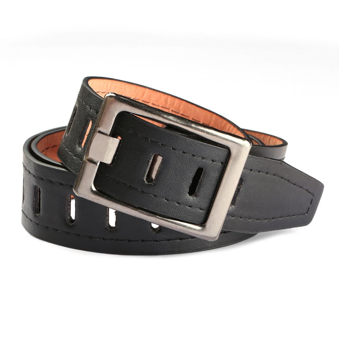 Women Hollow Out Single Prong Buckle Wide PU Waist Belt Black