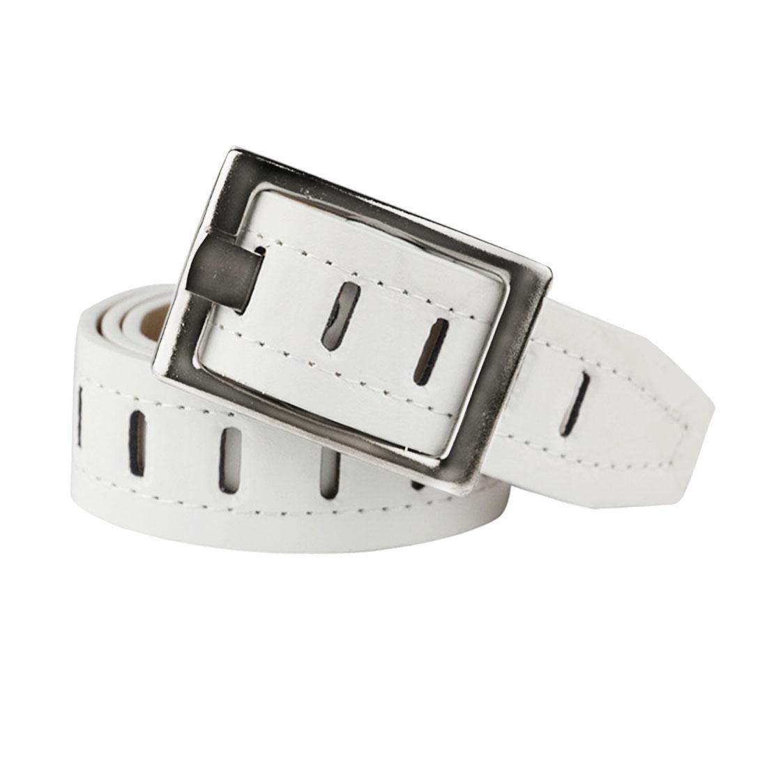 Women Hollow Out Single Prong Buckle Wide PU Waist Belt White