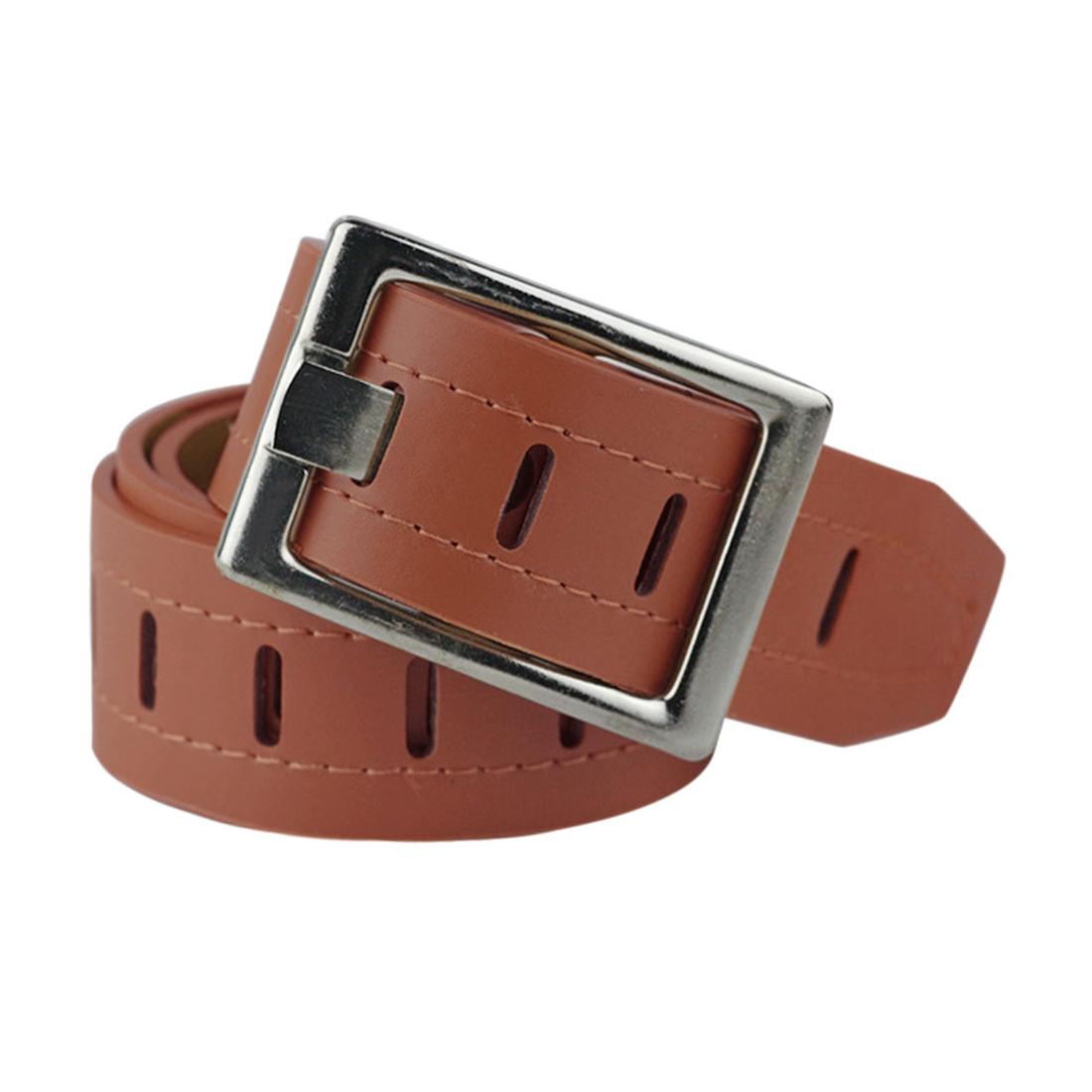 Women Hollow Out Single Prong Buckle Wide PU Waist Belt Brown