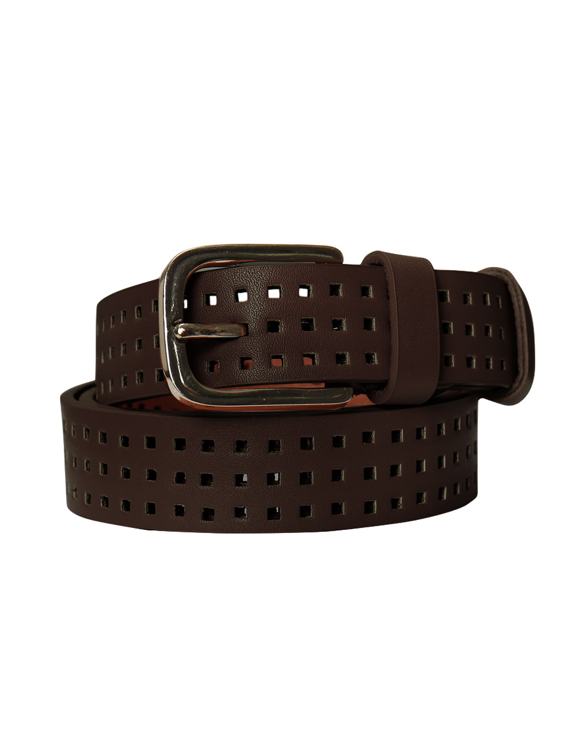 Women Single Pin Buckle Adjustable Hollow Out PU Belt Red