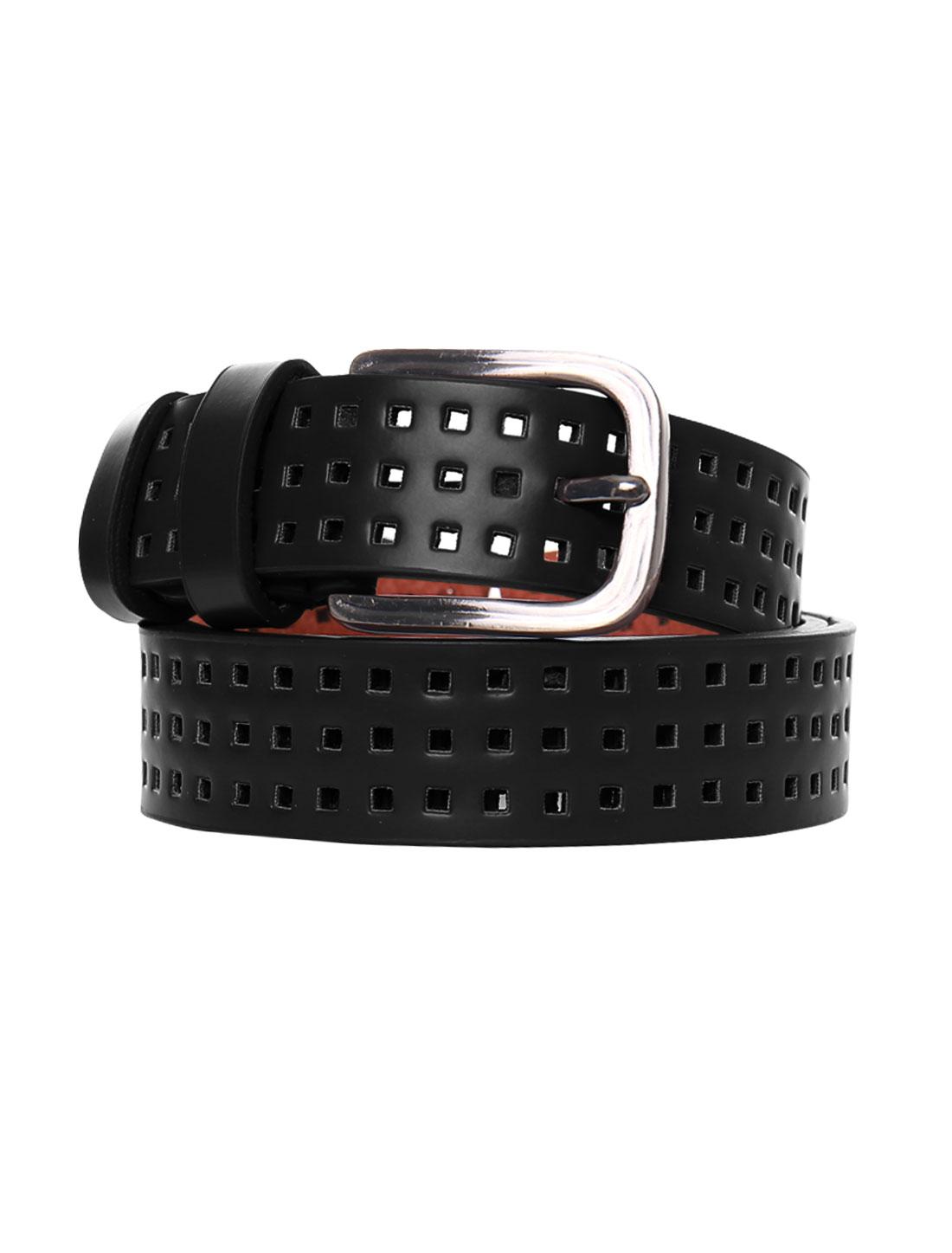 Women Single Pin Buckle Adjustable Hollow Out PU Belt Black