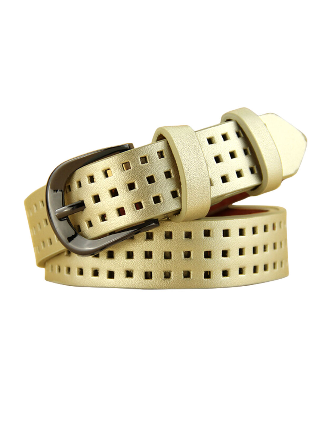 Women Single Pin Buckle Adjustable Hollow Out PU Belt Gold