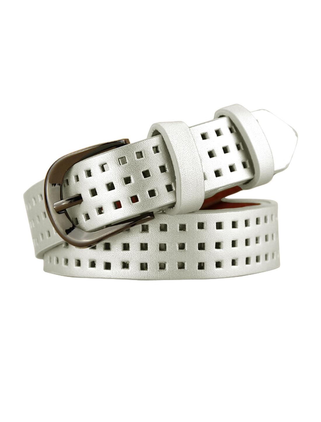 Women Single Pin Buckle Adjustable Hollow Out PU Belt Silver