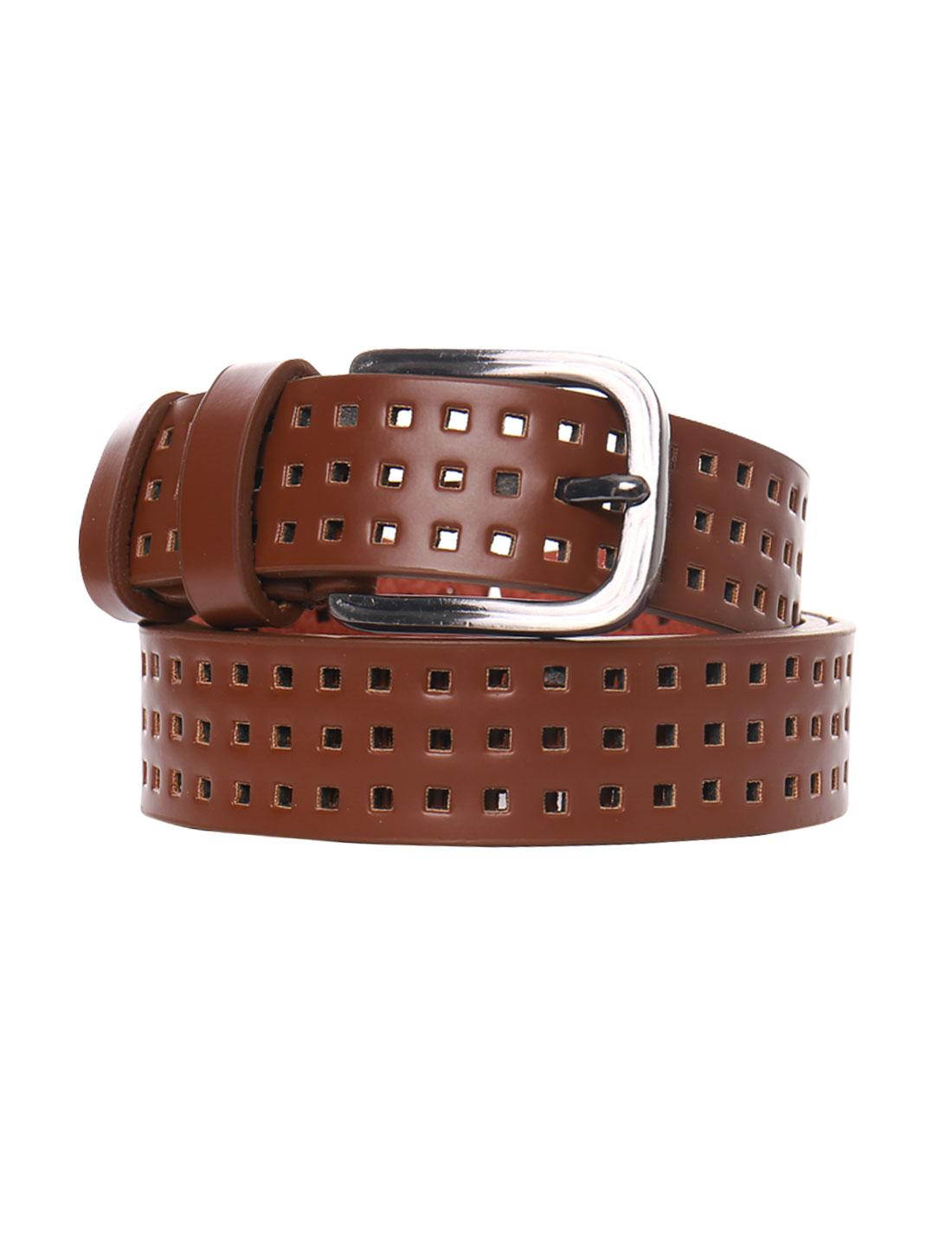 Women Single Pin Buckle Adjustable Hollow Out PU Belt Dark Brown