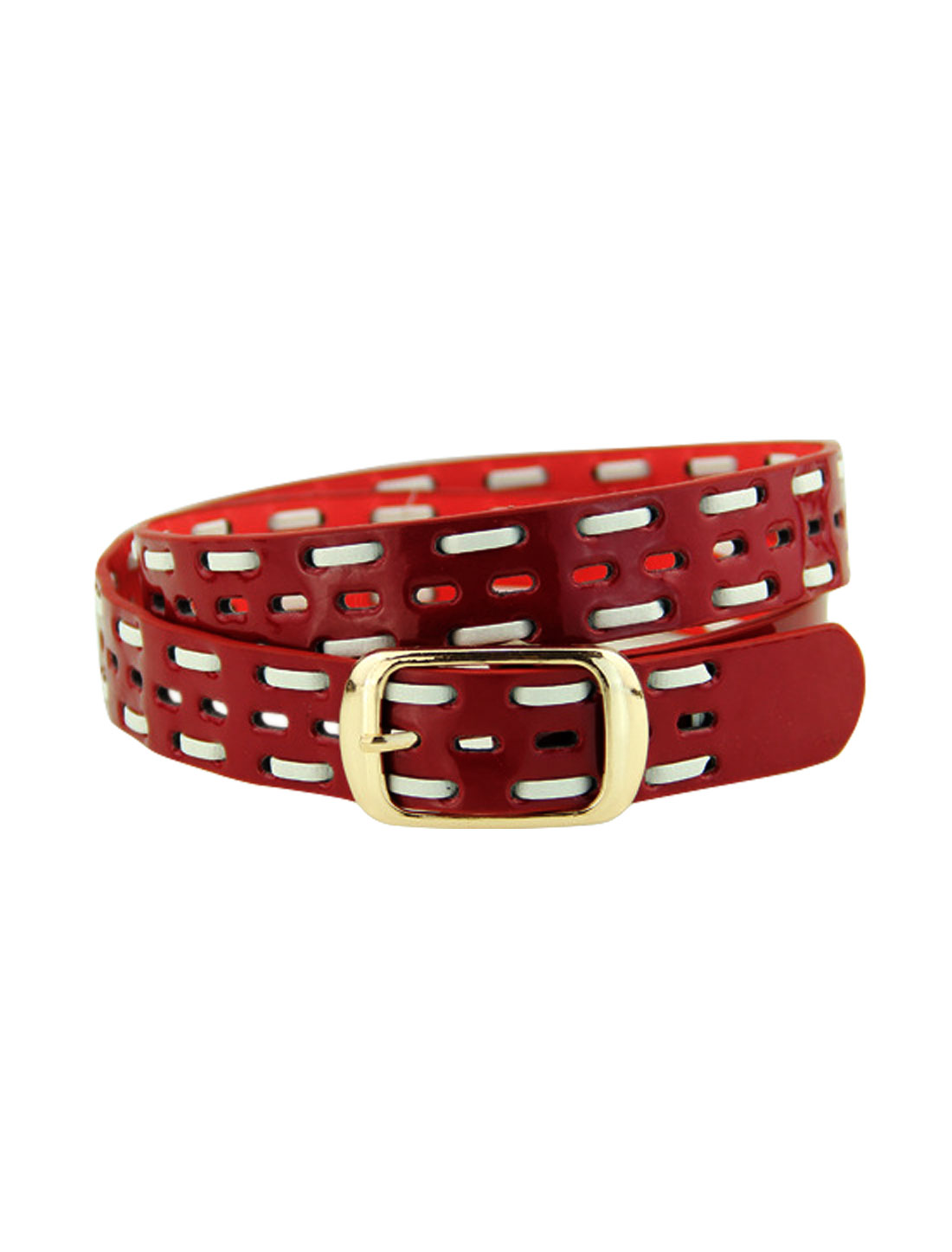 Women Single Pin Buckle Braided Hollow Out PU Waist Belt Red