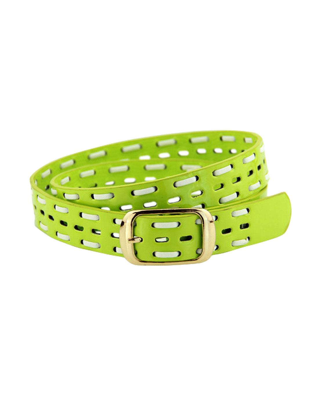 Women Single Pin Buckle Braided Hollow Out PU Waist Belt Green