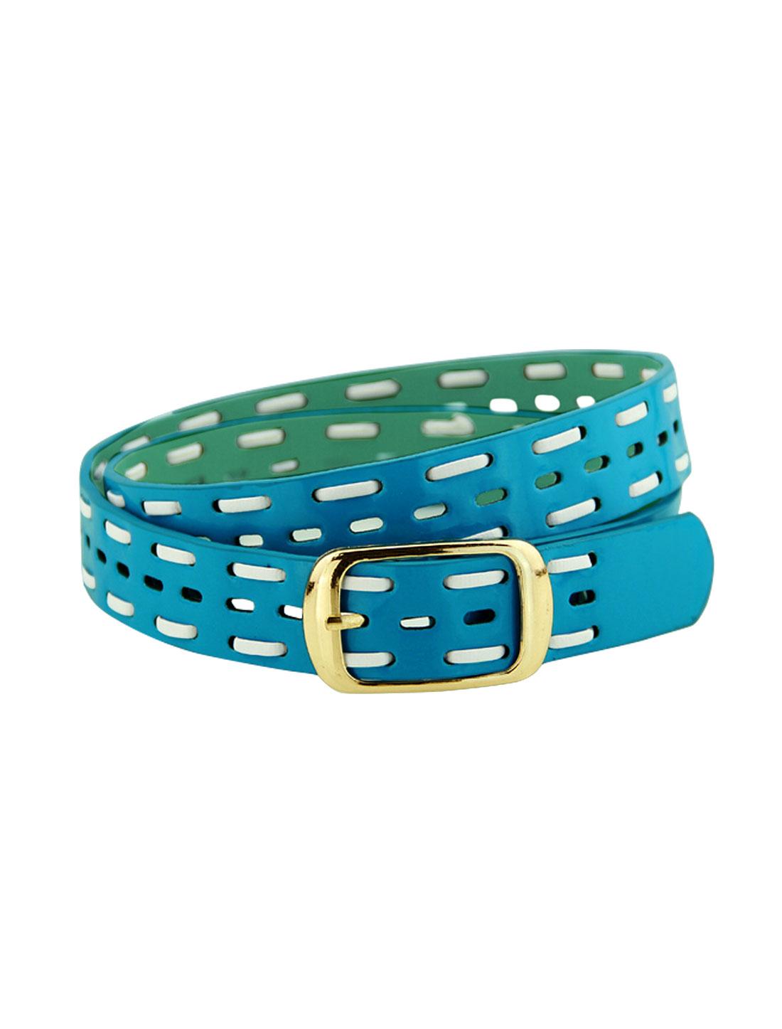 Women Single Pin Buckle Braided Hollow Out PU Waist Belt Blue