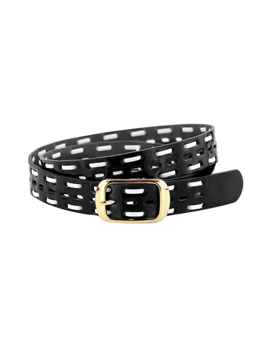 Women Single Pin Buckle Braided Hollow Out PU Waist Belt Black
