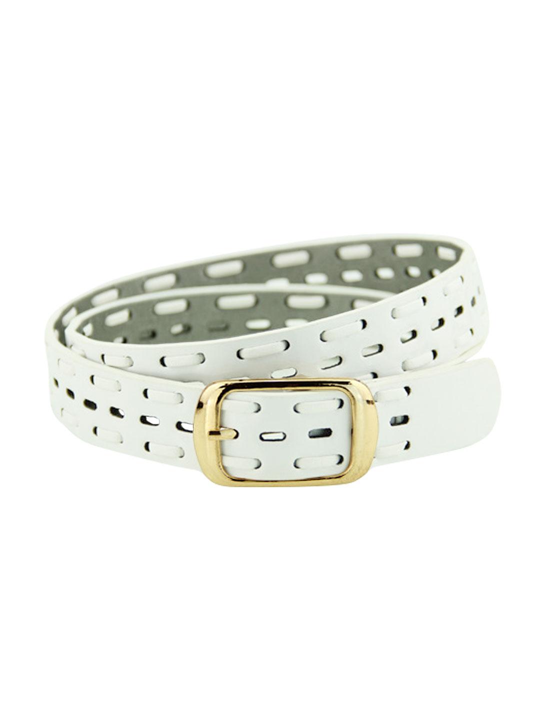 Women Single Pin Buckle Braided Hollow Out PU Waist Belt White