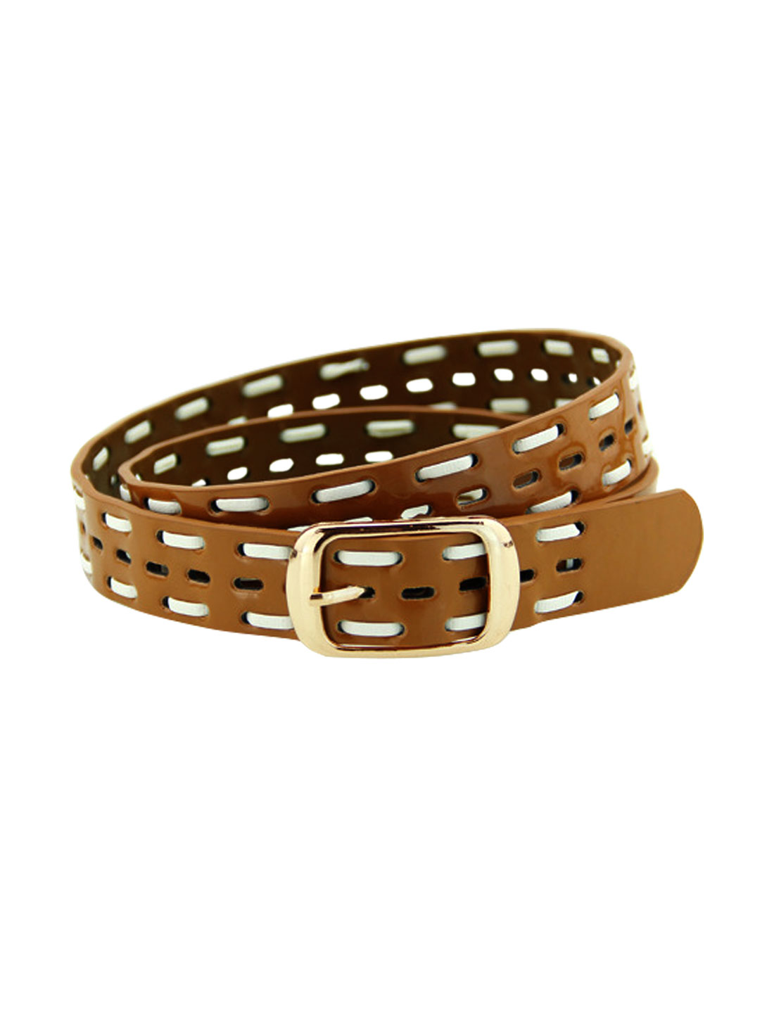 Women Single Pin Buckle Braided Hollow Out PU Waist Belt Light Brown