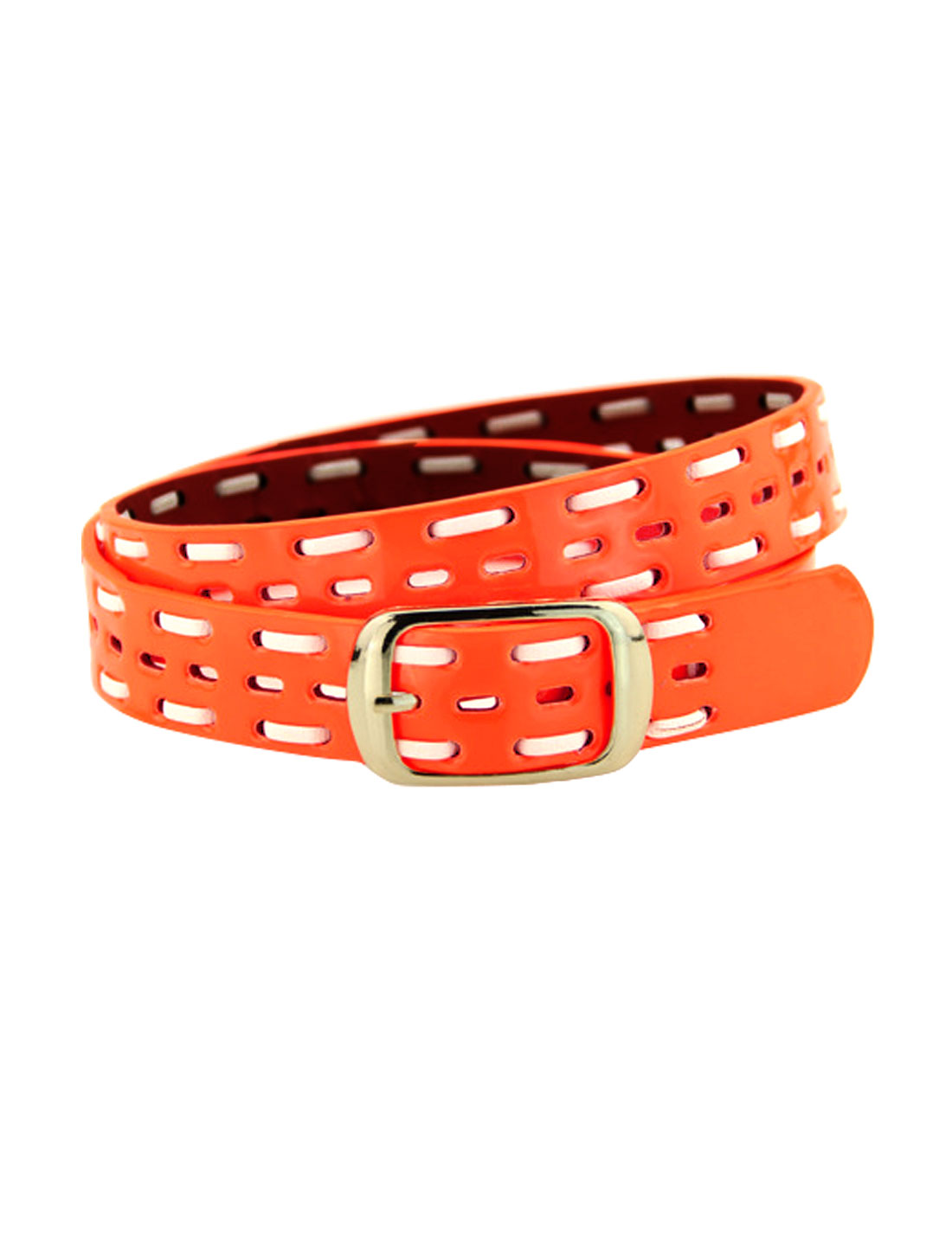 Women Single Pin Buckle Braided Hollow Out PU Waist Belt Orange
