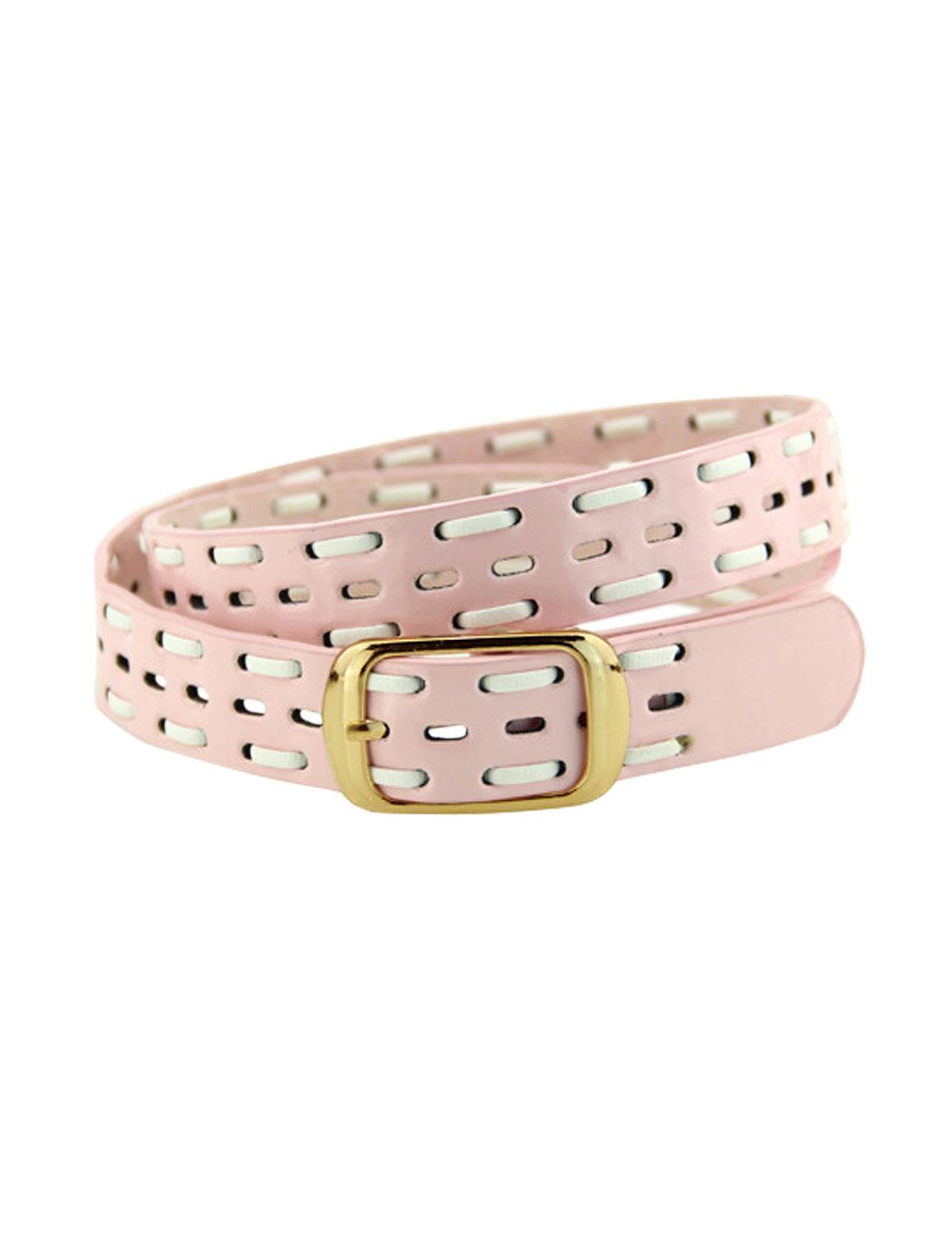 Women Single Pin Buckle Braided Hollow Out PU Waist Belt Pink