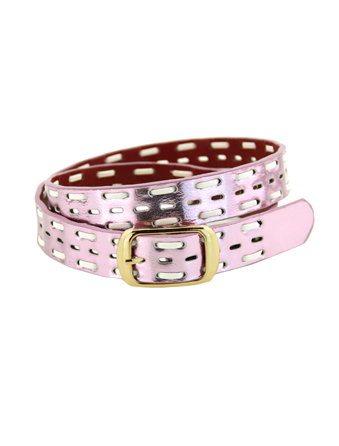 Women Single Pin Buckle Braided Hollow Out PU Waist Belt Purple