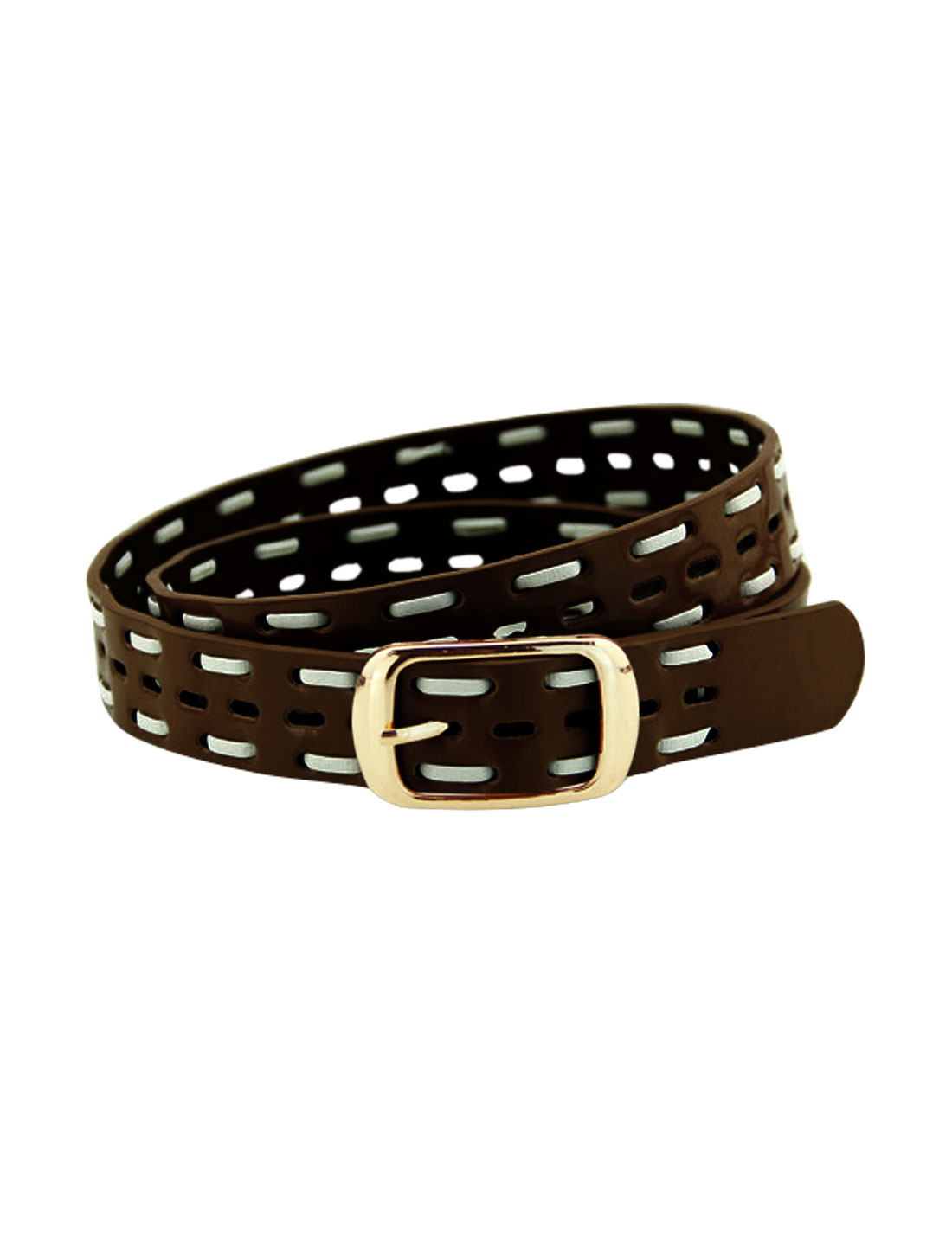 Women Single Pin Buckle Braided Hollow Out PU Waist Belt Dark Brown