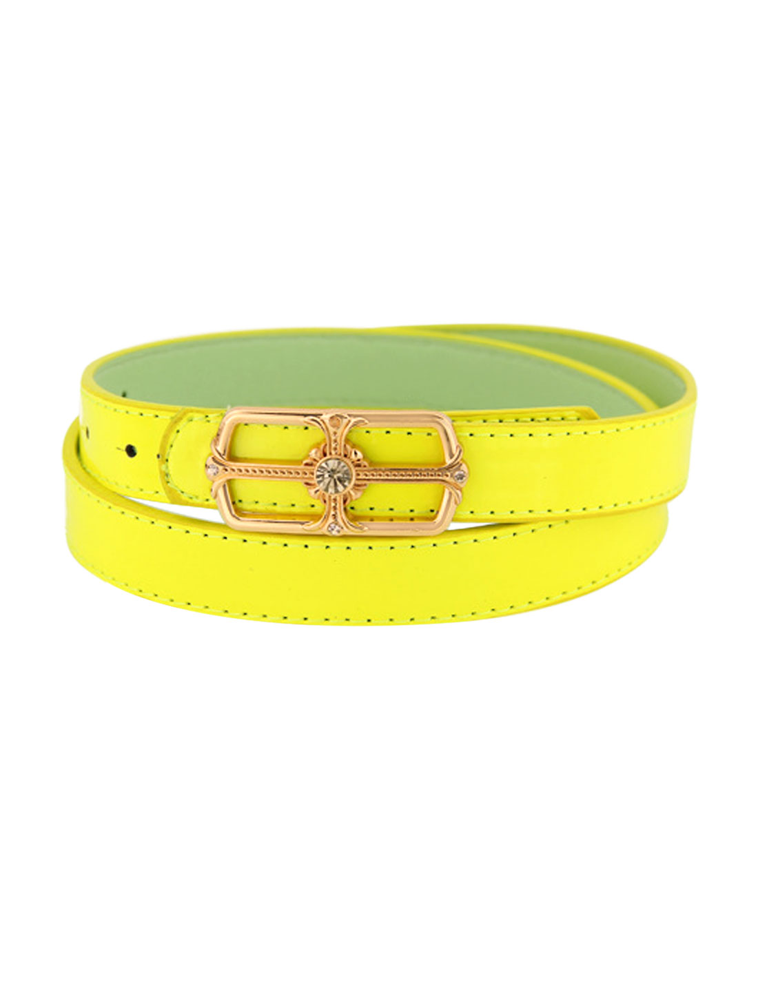 Women Rhinestone Decor Square Press Buckle PU Skinny Belt Yellow