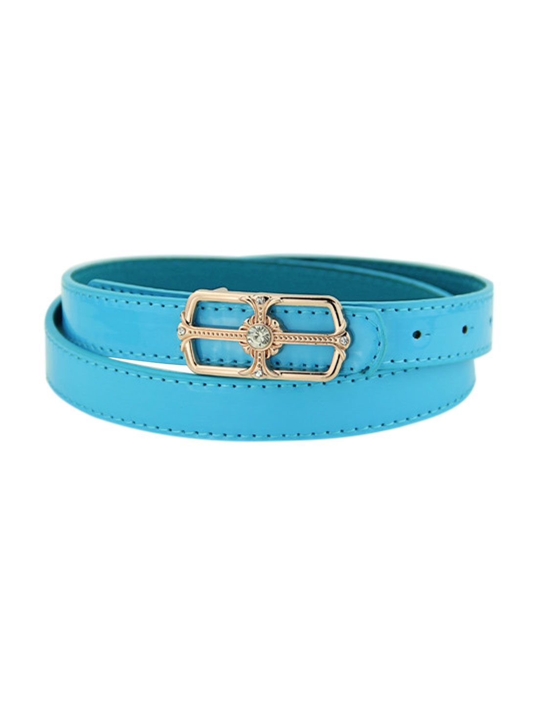 Women Rhinestone Decor Square Press Buckle PU Skinny Belt Blue