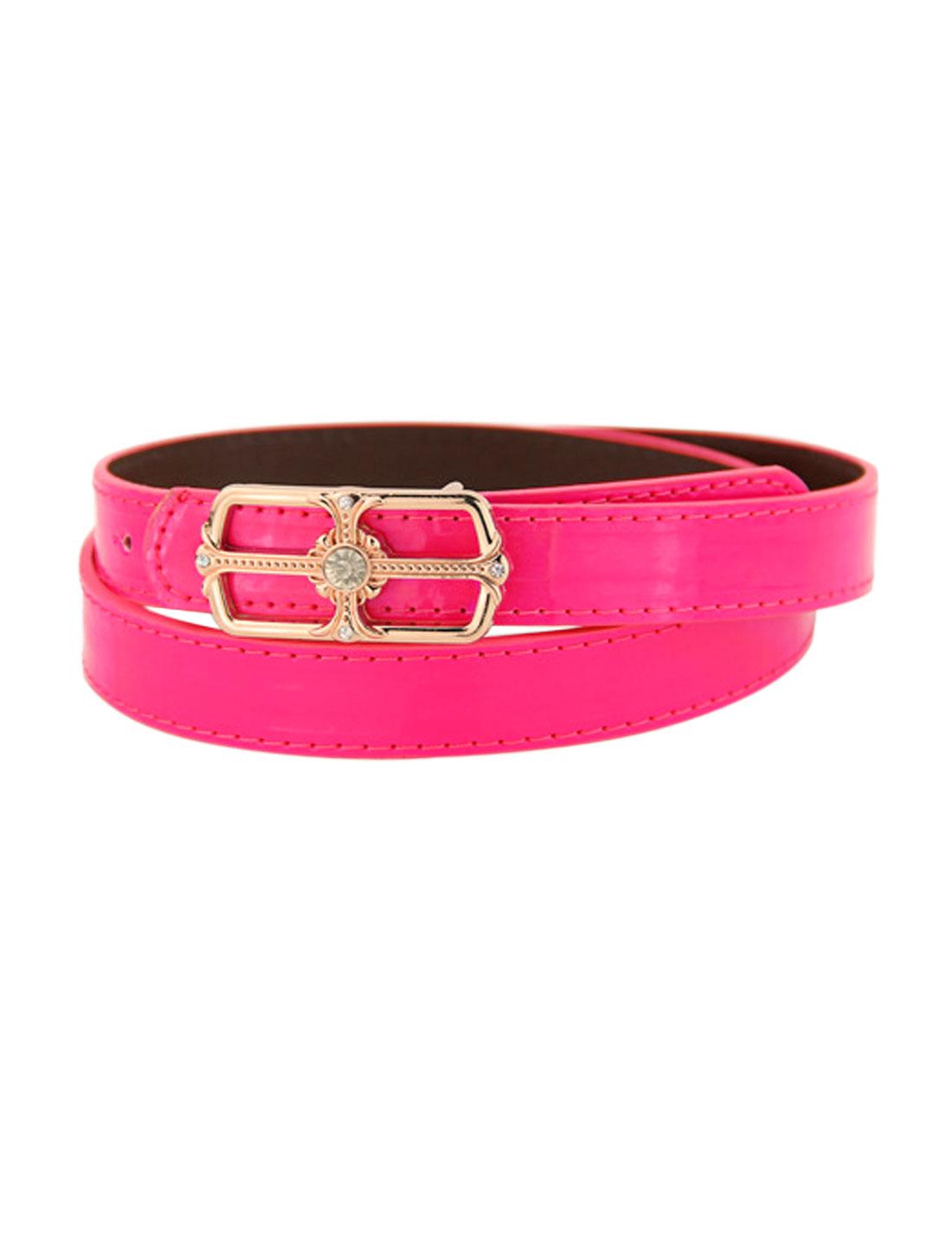 Women Rhinestone Decor Square Press Buckle PU Skinny Belt Pink