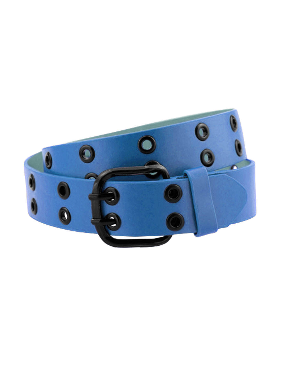 Men Double Prong Adjustable Eyelets Design PU Belt Blue