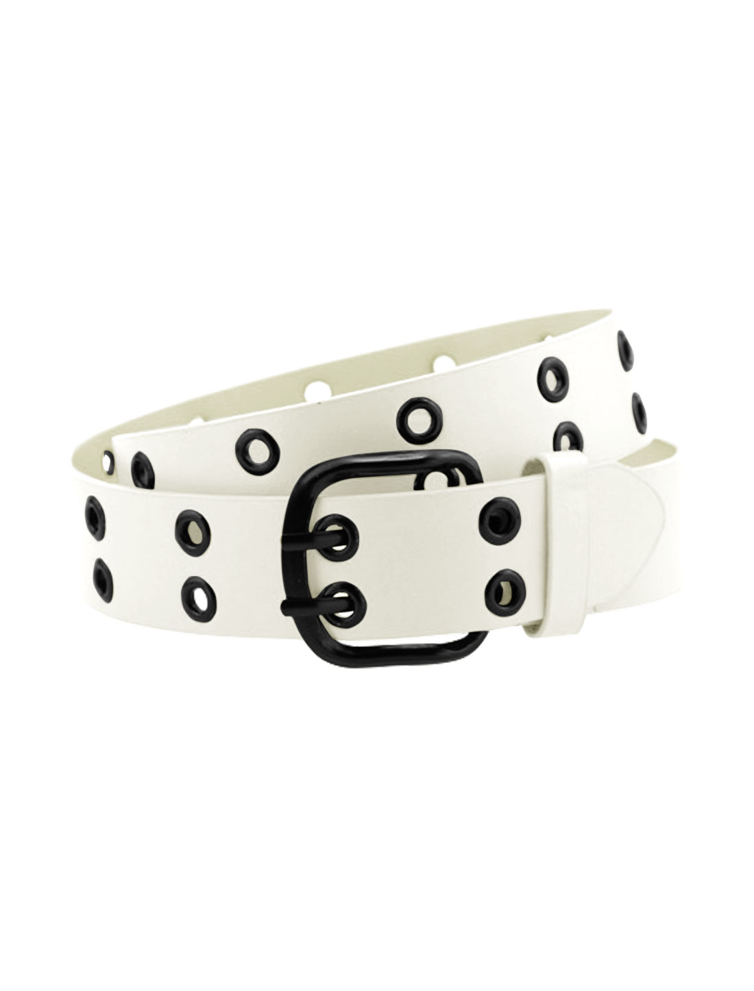 Men Double Prong Adjustable Eyelets Design PU Belt White