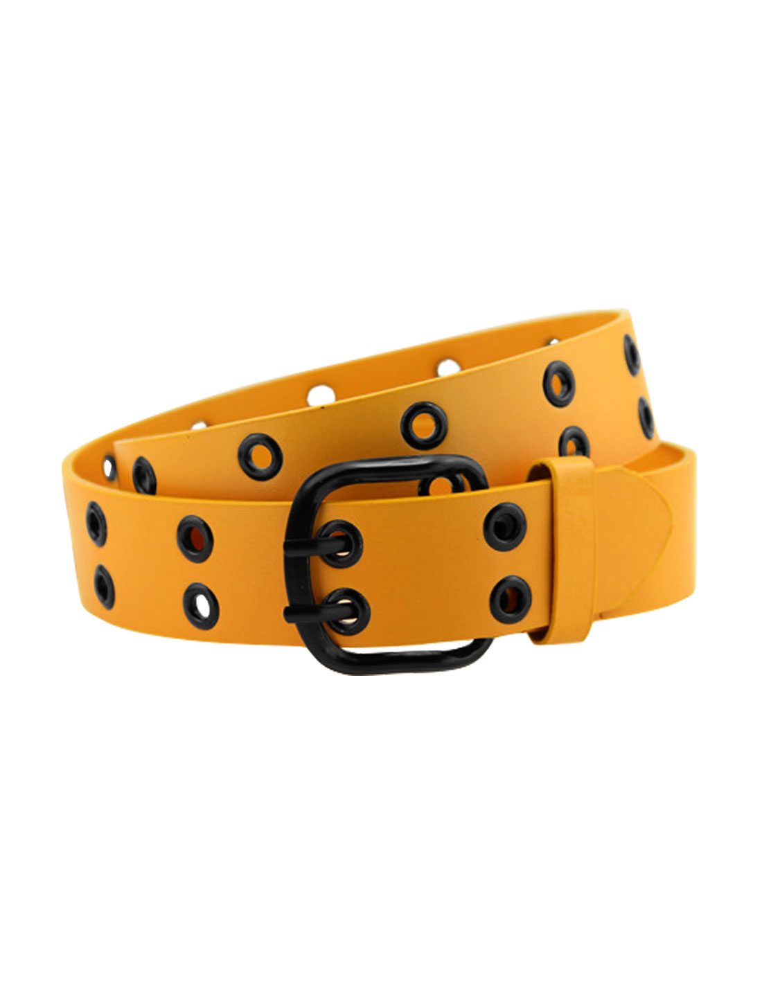 Men Double Prong Adjustable Eyelets Design PU Belt Orange