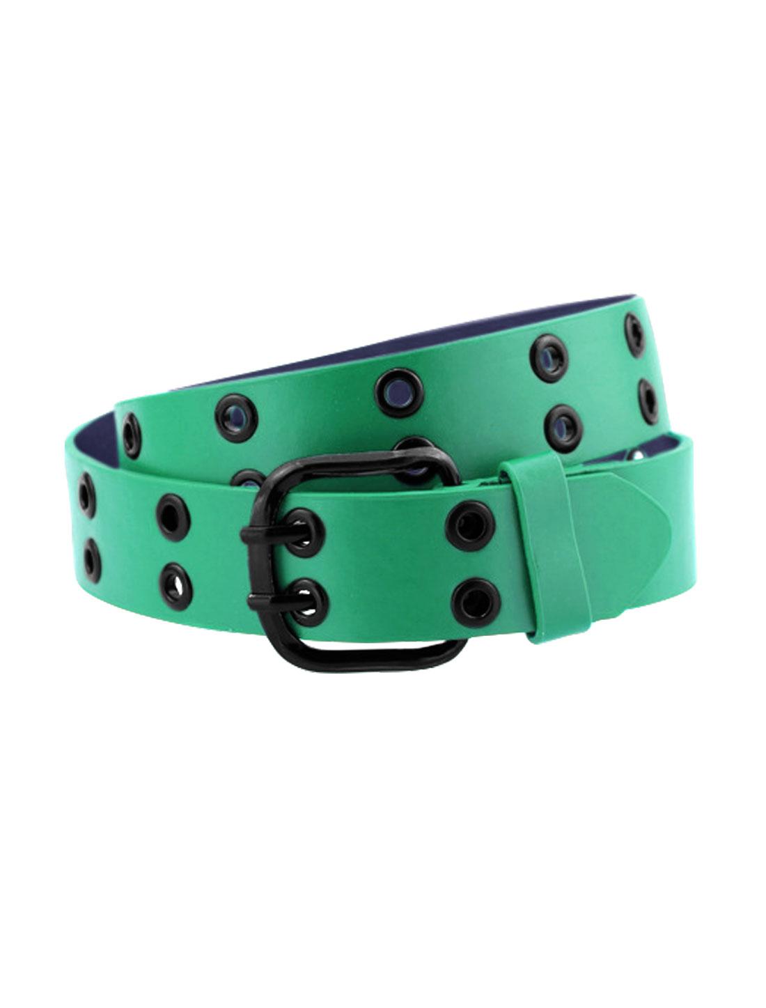 Men Double Prong Adjustable Eyelets Design PU Belt Green
