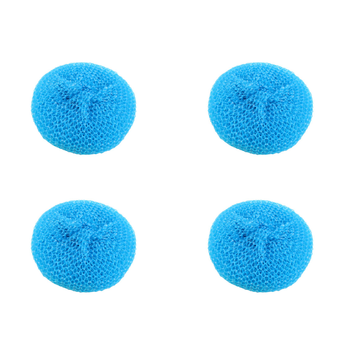 Home Kitchen Dish Pot Plastic Mesh Scouring Cleaning Scrubber Blue 4pcs