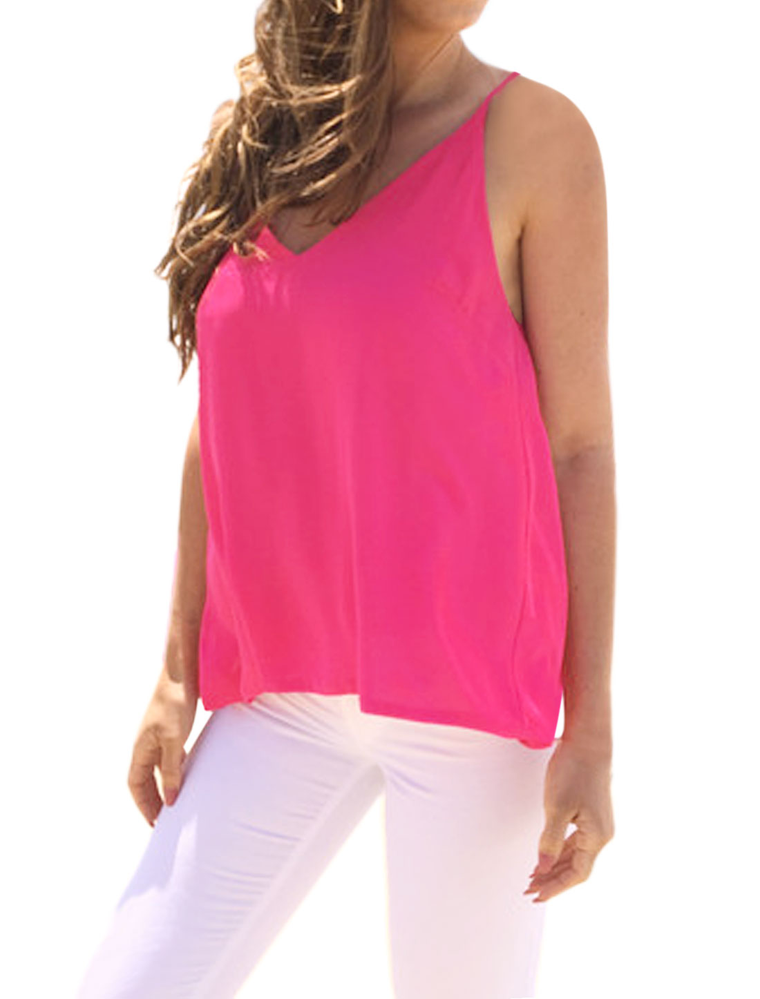 Women Straps Deep V Neck Crisscross Backless Chiffon Cami Top Pink M