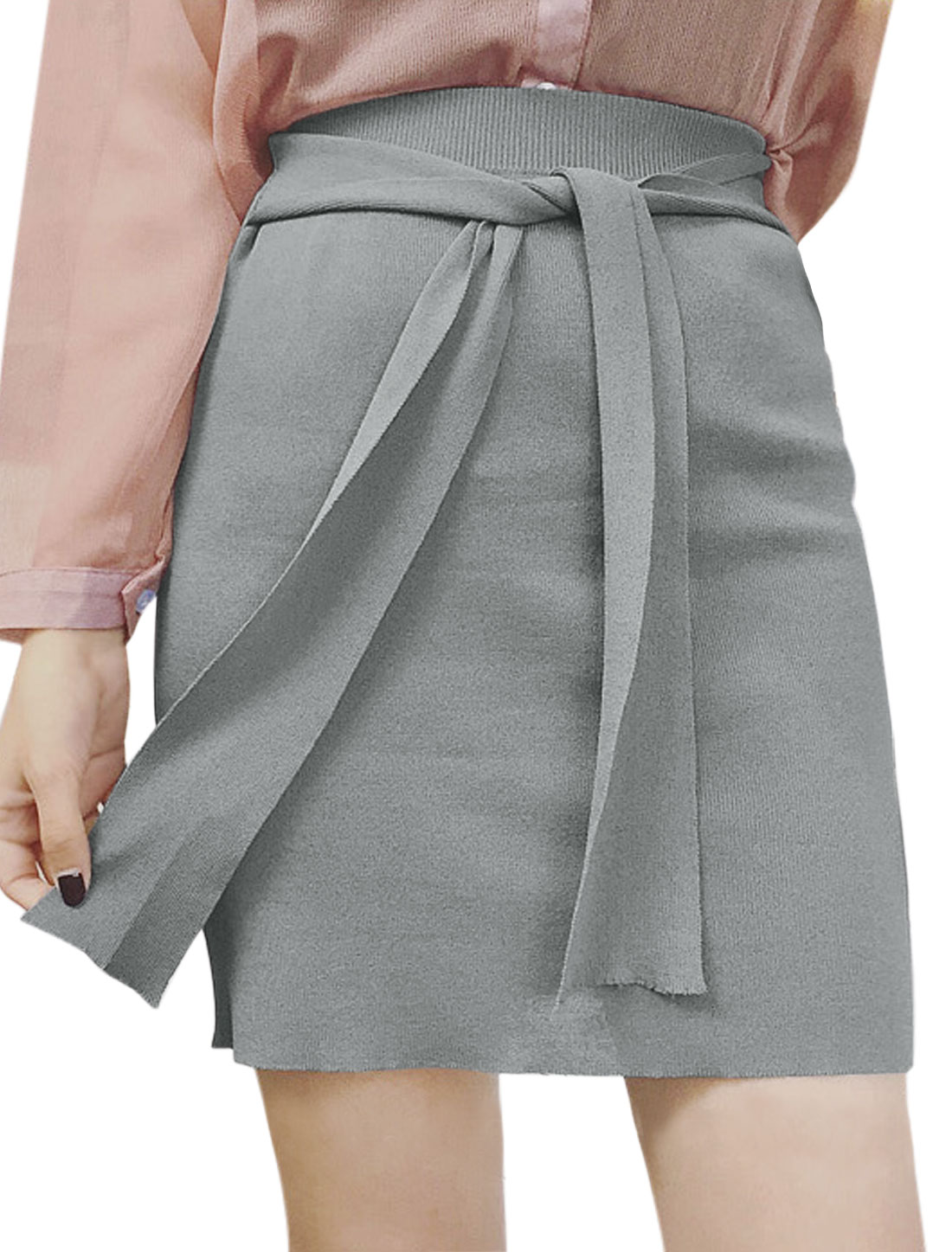 Women Self Tie Front High Waist Knitted Straight Skirt Gray XS