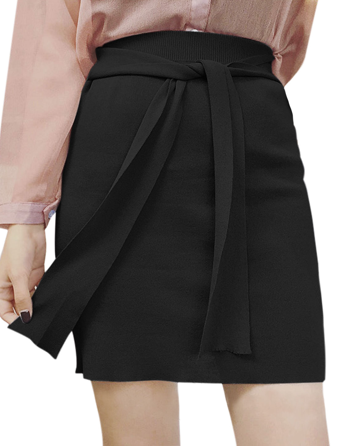 Women Self Tie Front High Waist Knitted Straight Skirt Black XS