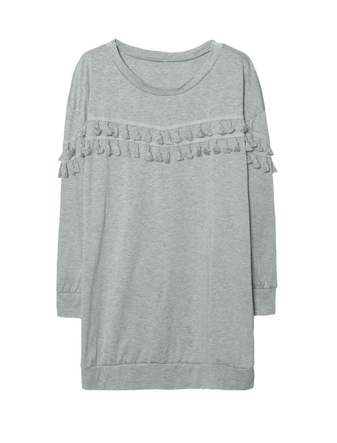 Women Tassels Dropped Shoulder Loose Tunic Sweatshirt Dress Gray M