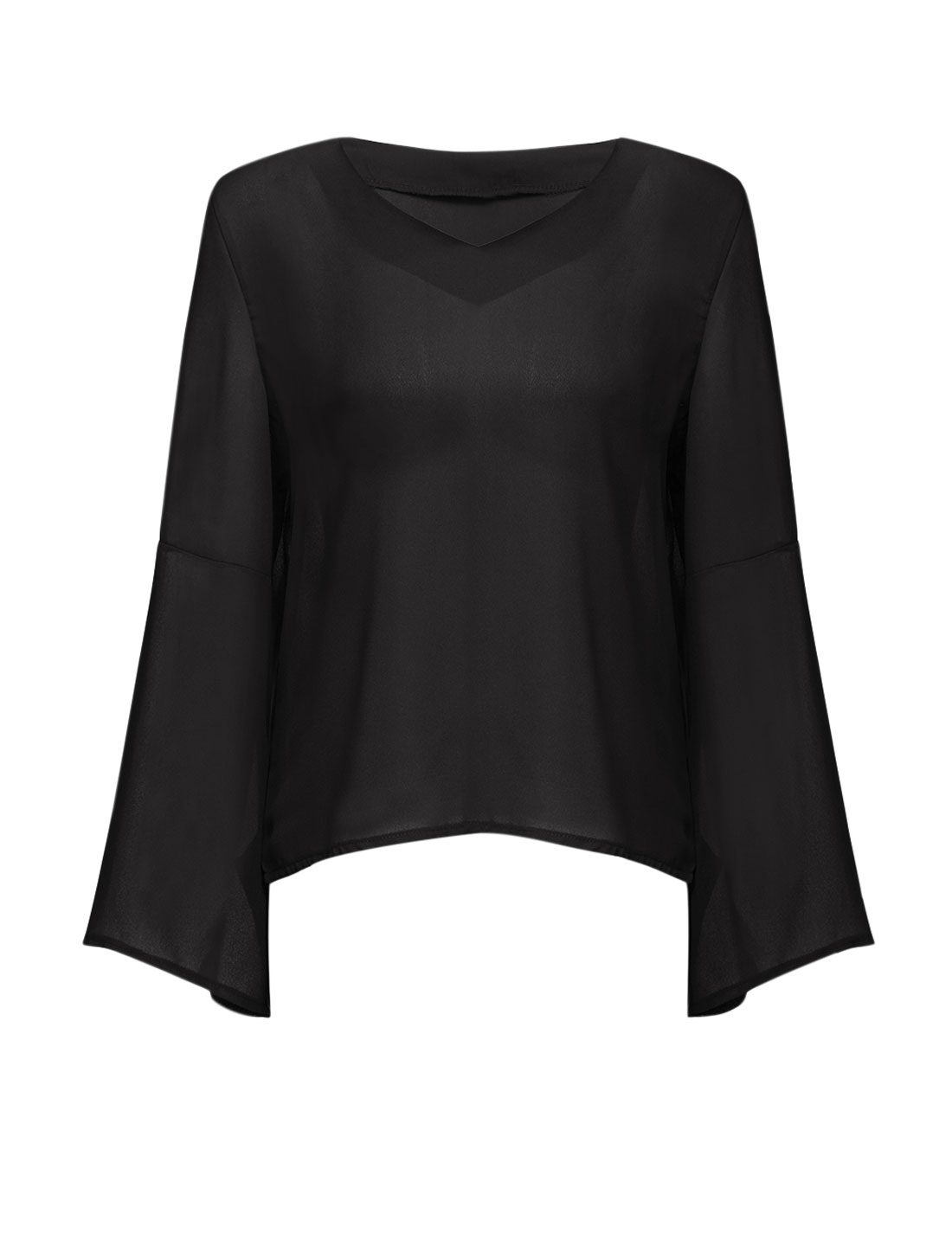 Women Chiffon V Neck Split Cuffs Trumpet Sleeves Semi Sheer Top Black S