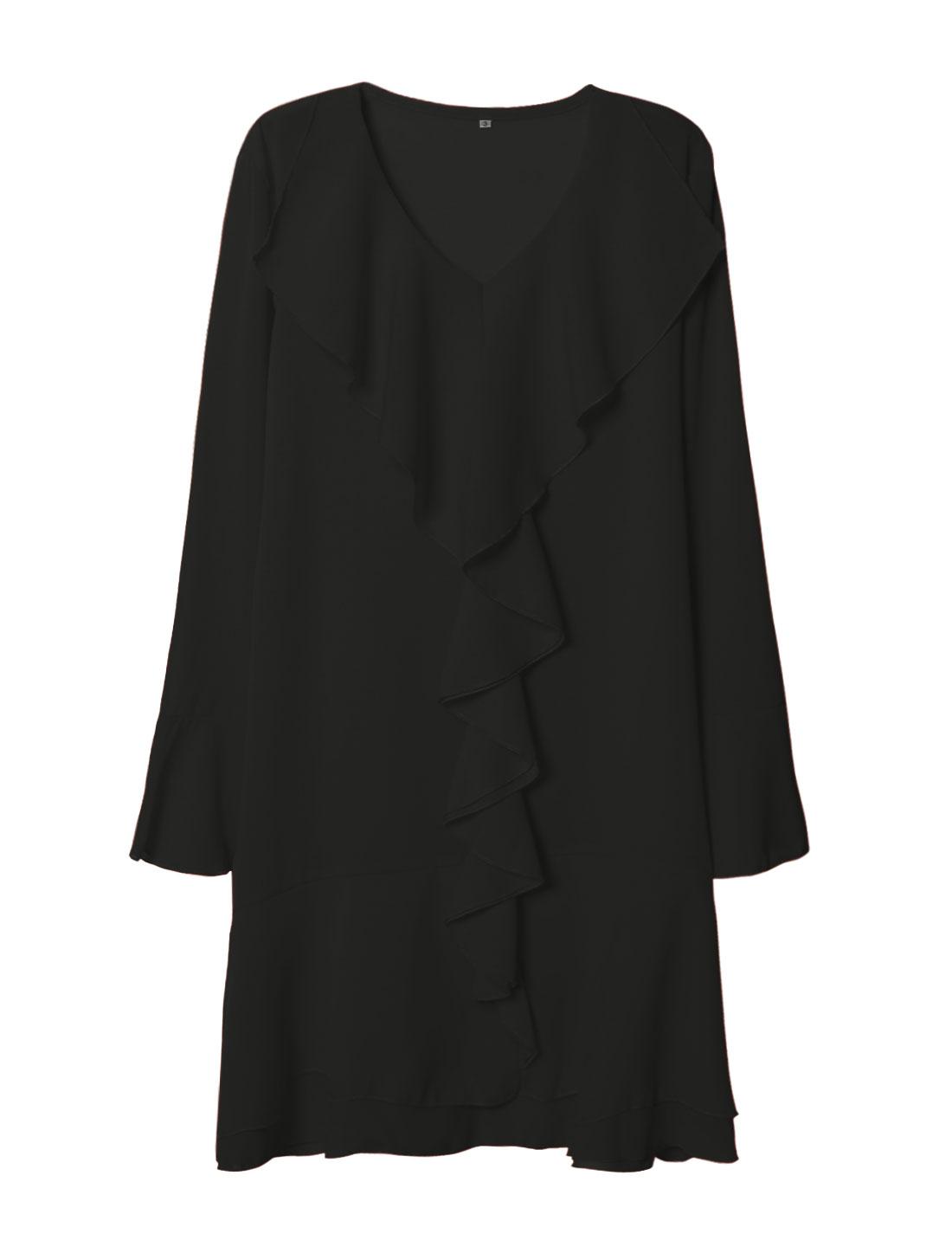 Women V Neck Bell Cuffs Ruffled Front Tiered Chiffon Dress Black M