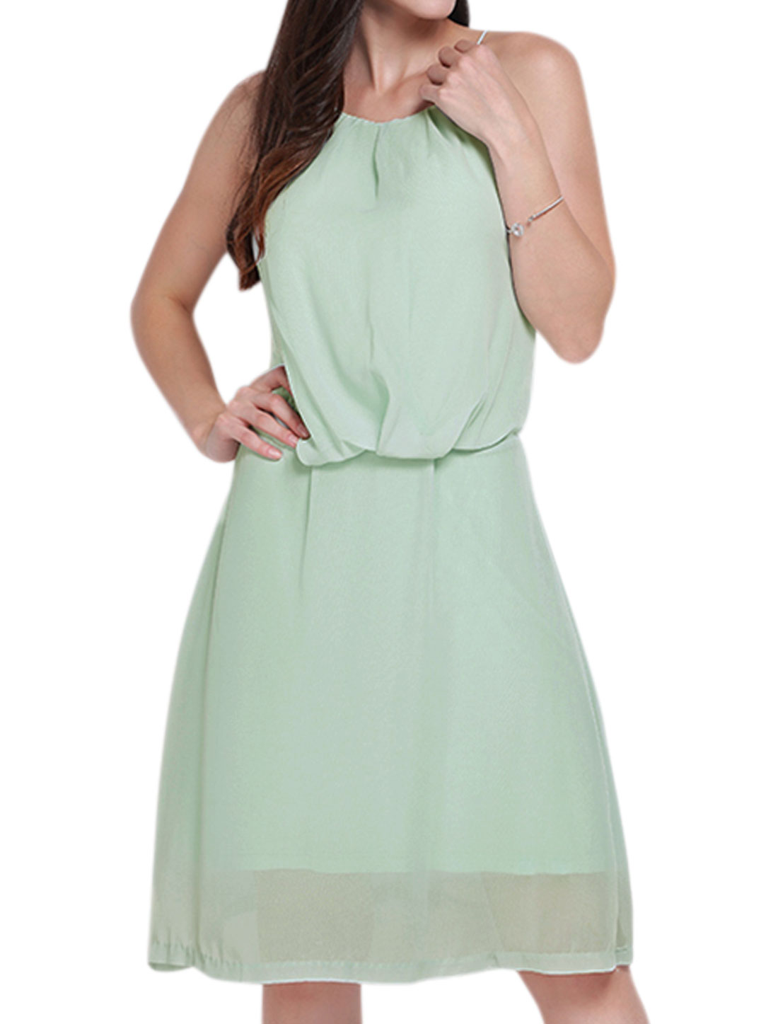 Women Spaghetti Straps Lace Panel Open Back Chiffon Dress Green M