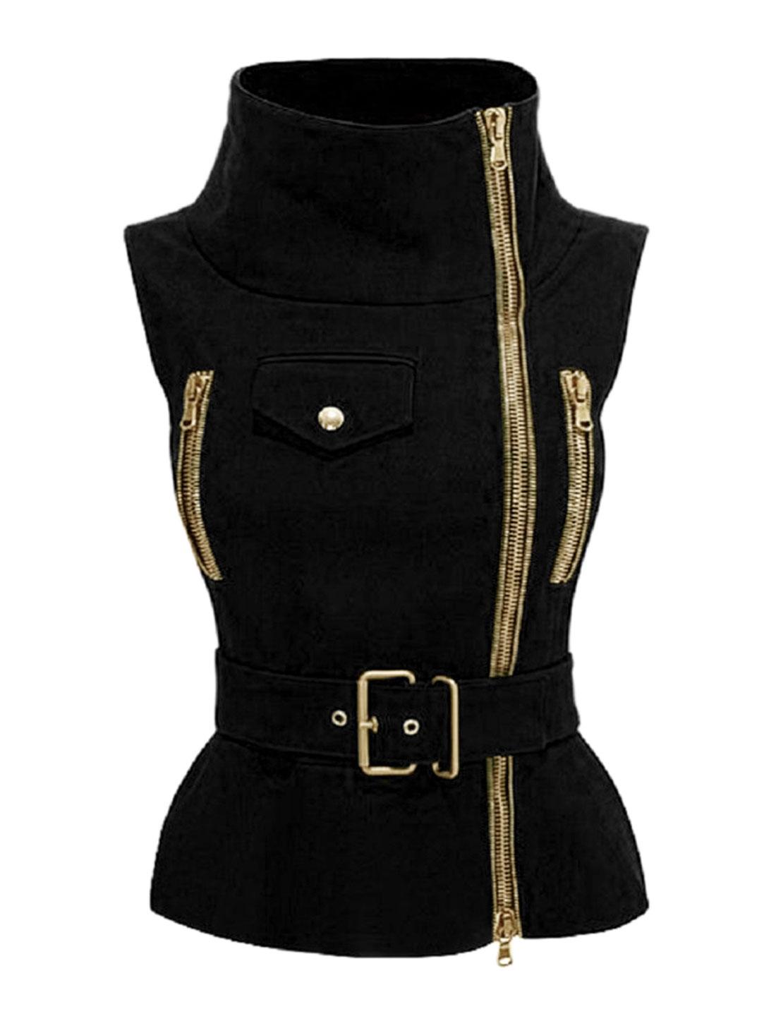 Women Funnel Neck Exposed Zip Up Belted Slim Fit Vest Jacket Black L