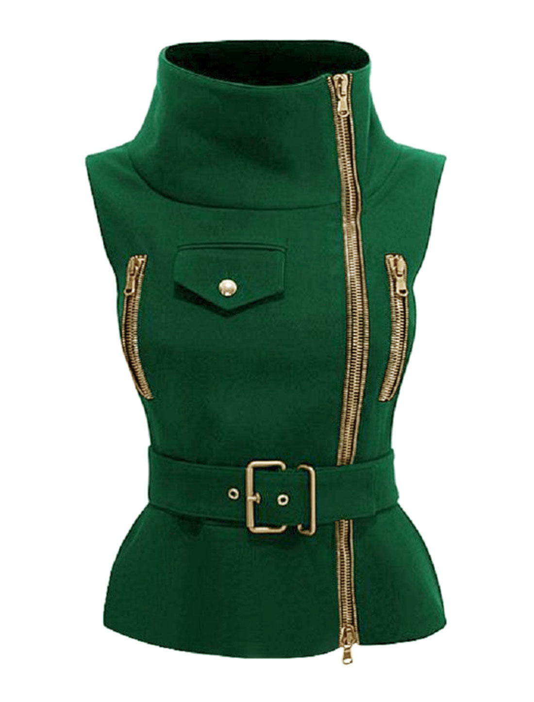 Women Funnel Neck Exposed Zip Up Belted Slim Fit Vest Jacket Green L