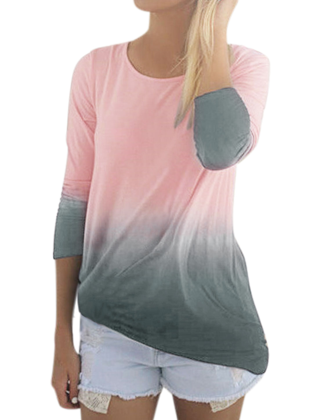 Women Dip-Dyed Long Sleeves Round Neck Tunic Tee Shirt Pink XS