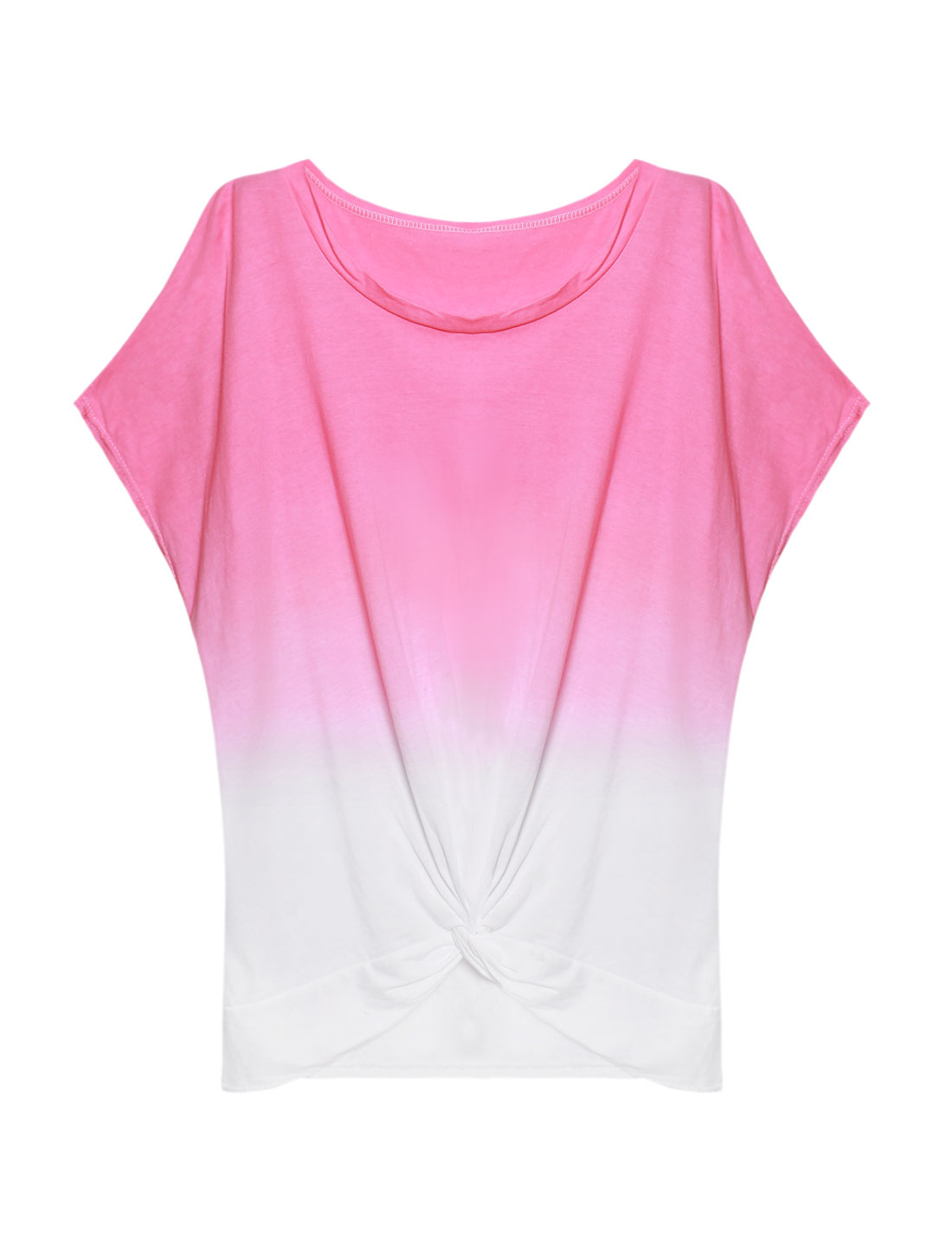 Women Hi-Lo Hem Dip-Dyed Knotted Tunic Batwing T Shirt Pink S