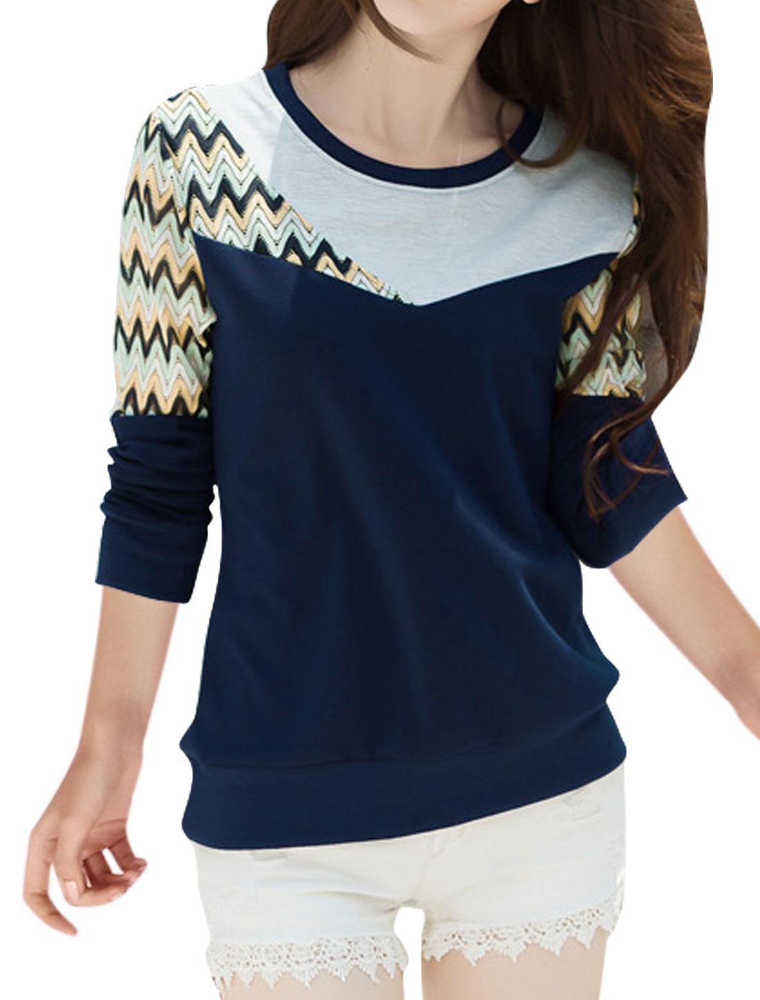 Women Long Sleeves Zig-zag Design Mesh Panel Top Blue M