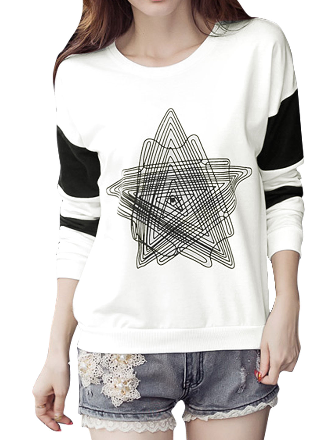 Women Long Sleeves Stars Pattern Color Block Sweatshirt White L
