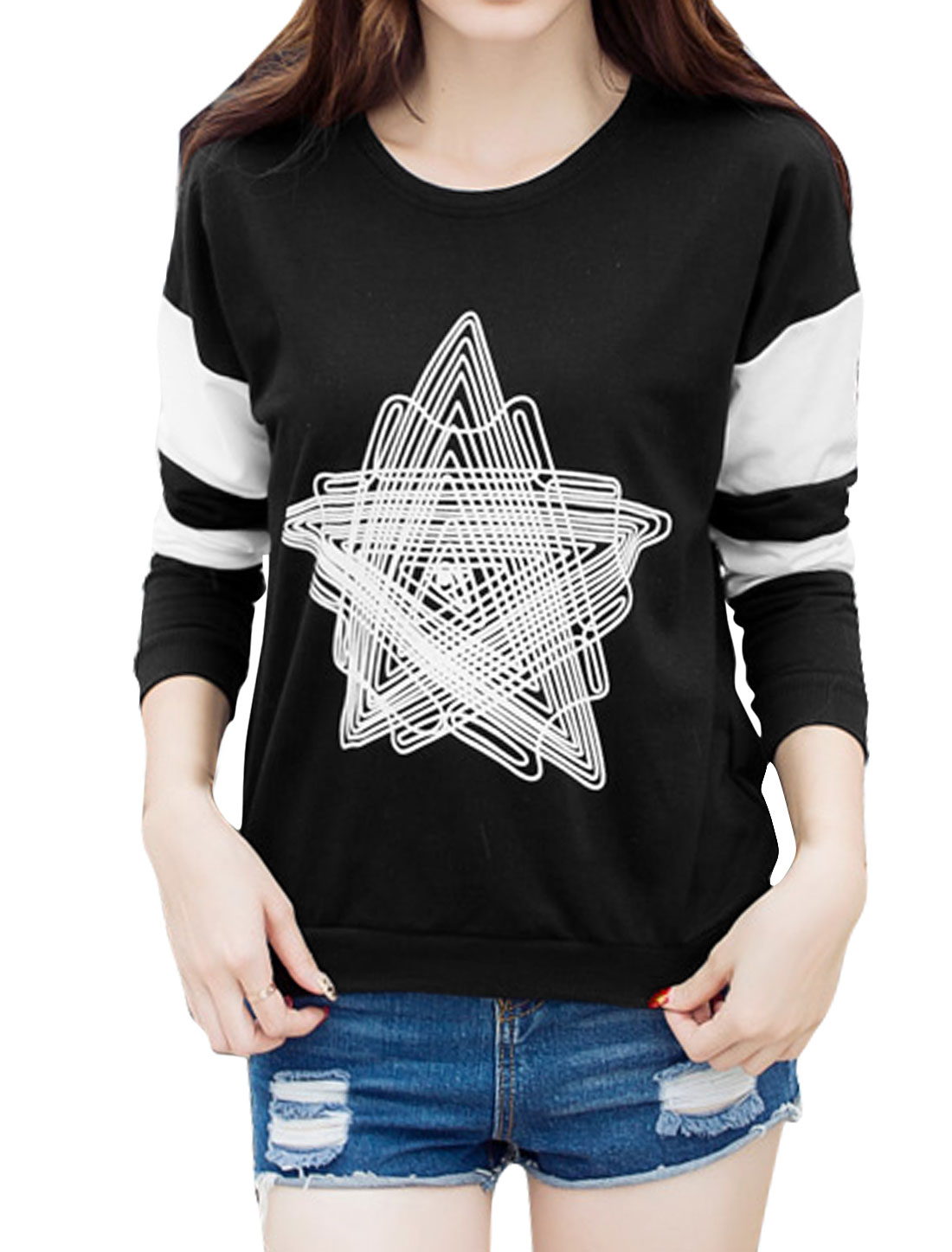 Women Long Sleeves Stars Pattern Color Block Sweatshirt Black L