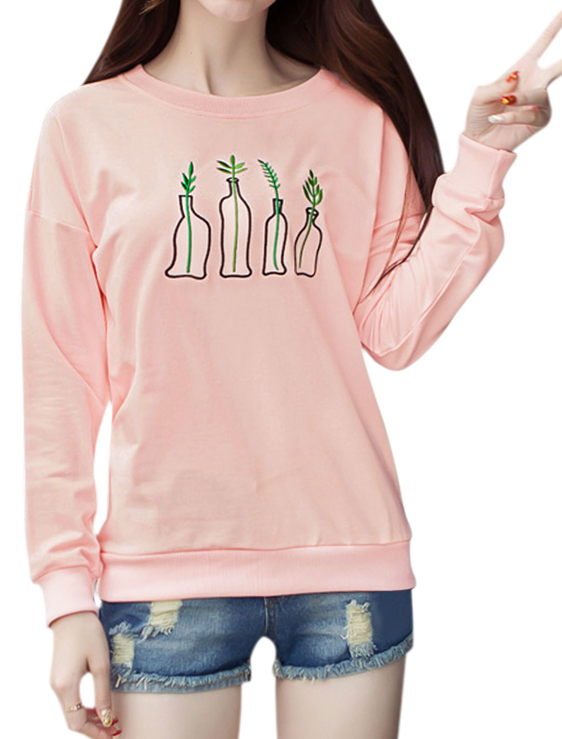 Women Long Sleeves Plant Bottle Embroidery Sweatshirt Pink M